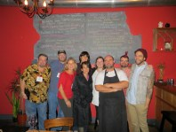 International Food Bloggers with chefs at The Blind Pig, photo by Christine Willmsen